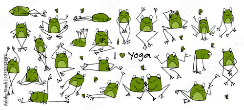 Photographie Funny yoga frog, sketch for your design