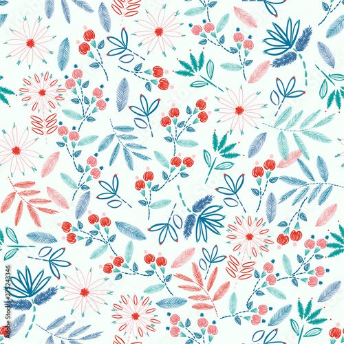 Colorful Embroidery Seamless pattern with liberty small  flowers decoration vector illustration.  hand drawn elements. design for Home decor,fashion,fabric,wrapping ,web,wallpaper and all prints - 275243346