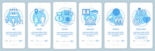 Demographics Blue Gradient Onboarding Mobile App Page Screen Vector Template. Social Characteristics Walkthrough Website Steps With Linear Illustrations. UX, UI, GUI Smartphone Interface Concept
