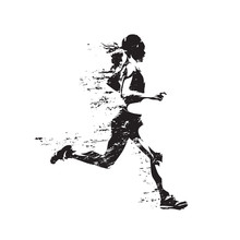 Running Woman, Abstract Isolated Vector Silhouette