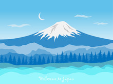 Japan Travel Concept With Mount Fuji. Mount Fujiyama Is The World Famous Landmarks Of Japan. Vector Advertising Template Illustration.