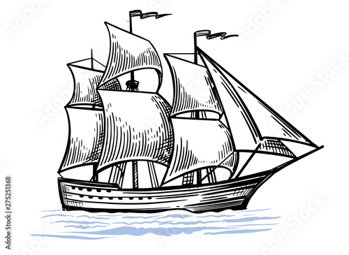 Deurstickers Schip Black and white sketch of sailing old ship