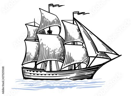 In de dag Schip Black and white sketch of sailing old ship