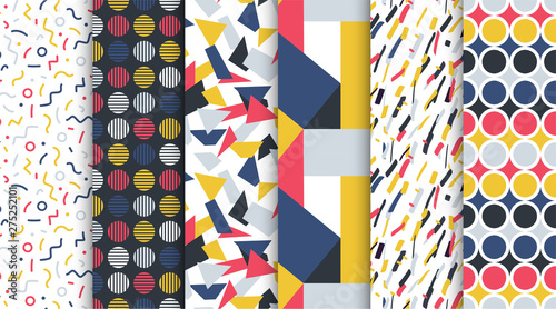 fototapeta na drzwi i meble Collection of trendy seamless colorful patterns - repeatable minimalistic design. Retro fashion style 80-90s