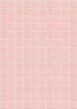 Pink Ceramic Square Mosaic Tiles Texture Background. Pink Bathroom Wall Tile. Vertical Picture.