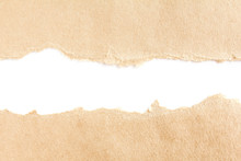 Two Torn Piece Of Brown Cardboard On White Background With Space For Text.