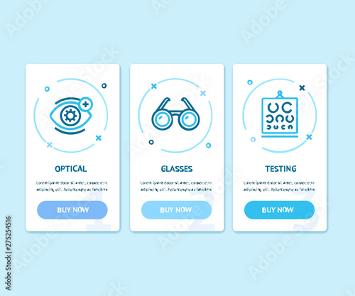 Fotografía Ophthalmology and Optometry App Screens Web Banners Cards Set