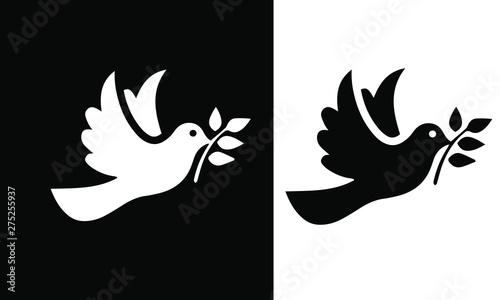 dove icon on black and white