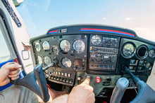 Cockpit Of A Small Aircraft.