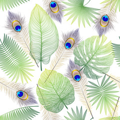 Obraz na Szkle Liście Beautiful seamless pattern with tropical leaf and feathers peacock. Space for text. Vector illustration.