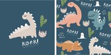 Fototapeta Dino - set of cute dinosaur print and seamless pattern with dinosaurs. vector illustration