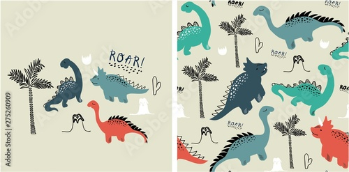 Fototapeta  set of cute dinosaur print and seamless pattern with dinosaurs
