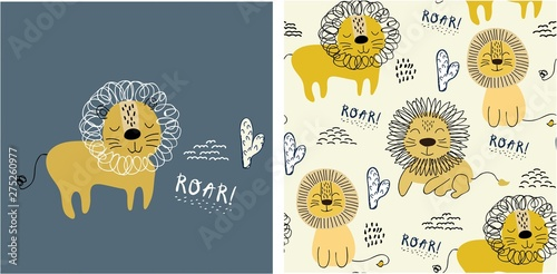 plakat set of cute lion print and seamless pattern with lions. vector