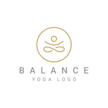 Abstract Yoga Logo Template Design. Human Pose Icon.
