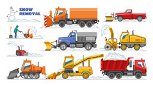 Snow Removal Vector Winter Machine Snowplow Equipment Tractor Cleaning Removing Snow Illustration Set Of Truck Snowblower Excavator Bulldozer Vehicle Transportation Isolated On White Background