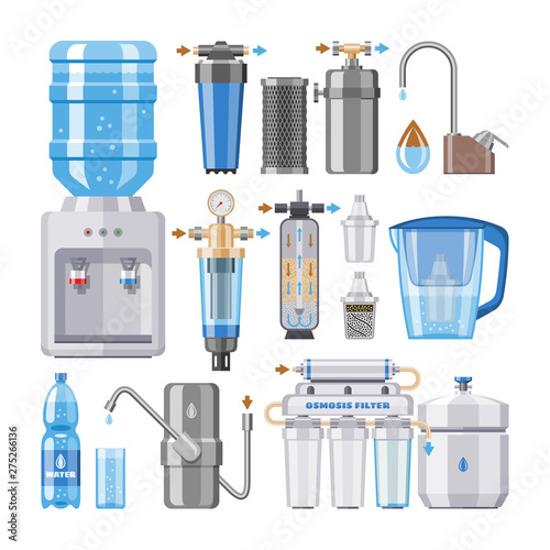Obraz Water filter vector filtering clean drink in bottle and filtered or purified liquid illustration set of mineral filtration or purification to clear aqua isolated on white background - fototapety do salonu
