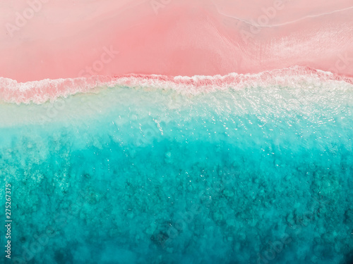 Cadres-photo bureau Roses Tropical pink beach with blue sea. Komodo islands - aerial view