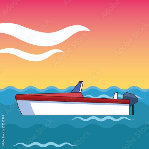 Photo boat adrift over the sea