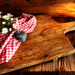 Leinwandbild Motiv Rustic cutting board made of wood