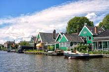 View Of The Beautiful Dutch Houses At Zaandijk, Netherlands