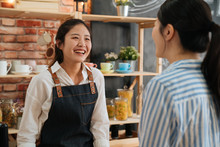 Young Barista Girl In Apron An...