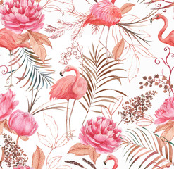 FototapetaHand drawn watercolor seamless pattern with pink flamingo, peony and decorative plants. Repeat background illustration