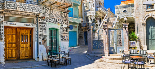 Most beautiful villages of Greece - unique traditional Pyrgi in Chios island with ornamental houses