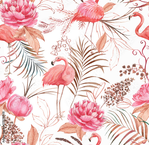 Hand drawn watercolor seamless pattern with pink flamingo, peony and decorative plants Fototapeta