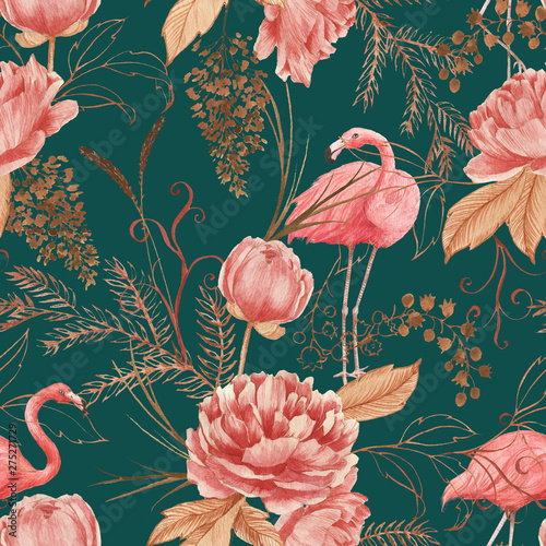 Foto auf Leinwand Künstlich Hand drawn watercolor seamless pattern with pink flamingo, peony and decorative plants. Repeat background illustration