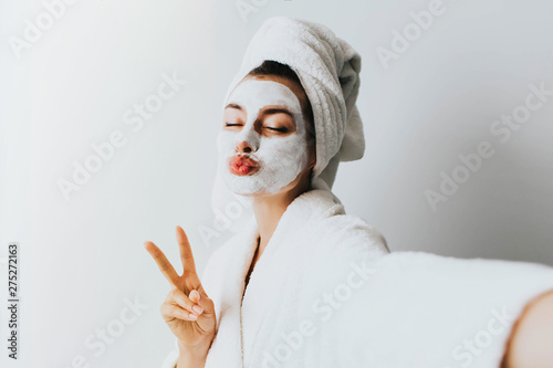 Fotomural Self portrait of charming, stylish, pretty, model after bath wrapped in towel sh