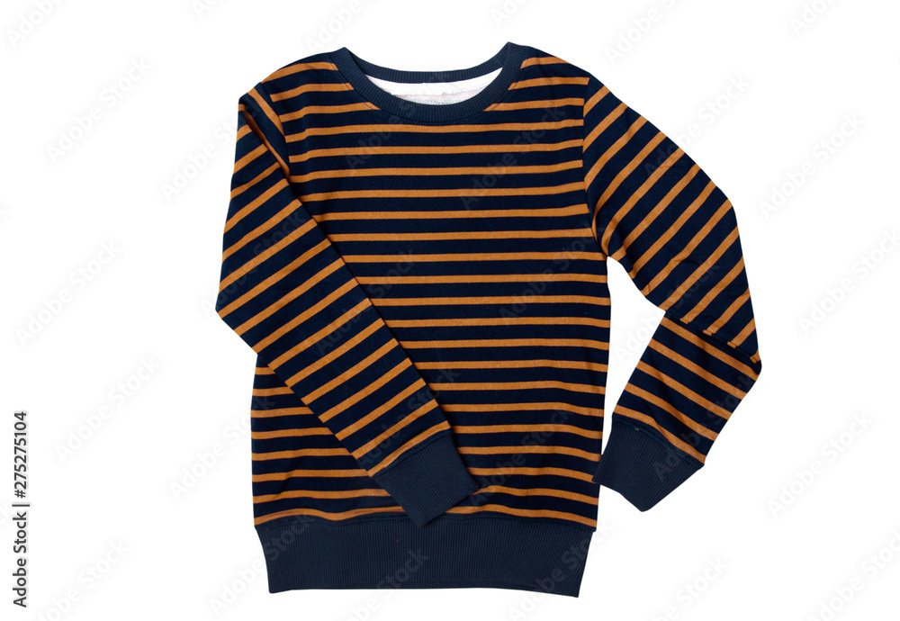 Fototapety, obrazy:  Men's long-sleeved striped sweater isolated on a white background