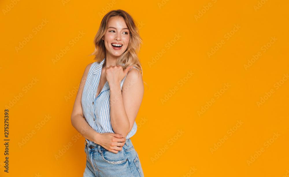 Fototapeta Happy cheerful girl wearing summer outfit