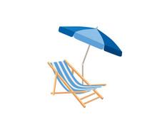 Chaise Longue, Parasol. Deck Chair Summer Beach Resort Symbol Of Holidays