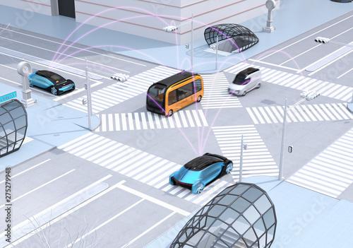 Fotografía  Traffic in modern city intersection
