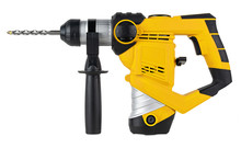 Heavy Yellow Black Jack-hammer Drilling Drill Machine Hand Tool Isolated White Background. Construction Working Industry Tools Concept