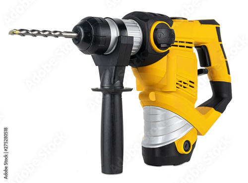 Obraz heavy yellow black  jack-hammer drilling drill machine hand tool isolated white background. Construction working industry tools concept - fototapety do salonu