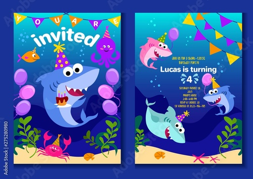 Baby Shark Party Invitation Cards Happy Birthday Greeting Card In