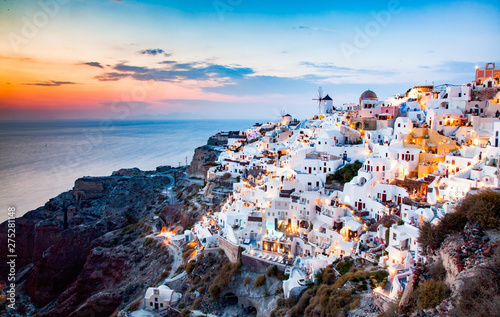 Montage in der Fensternische Logo amazing view of Oia town at sunset in Santorini, Cyclades islands Greece - amazing travel destination