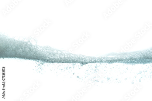 Fotografie, Tablou Wave soap foam with water bubble on white background.
