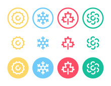 Seasons Related Bold Line Icon For Web.  Summer, Winter, Fall, Autumn And Spring Vector Icons.