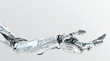 Silver Robotic Arm In Stretched Pose, 3d Rendering