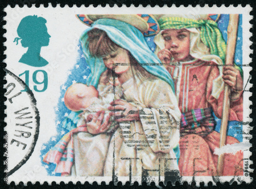 Fotografia  Vintage stamp printed in Great Britain 1994 shows Christmas.