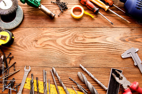 Obraz tools male workplace background texture dark wood - fototapety do salonu