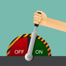 Hand Holding Lever Switch On And Off Vector Illustration.