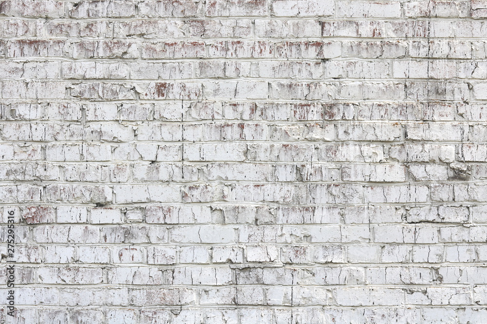 Fototapety, obrazy: Old wall made of red brick, painted white in loft style for modern designer interior of room, bar or restaurant
