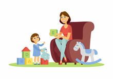 Mother And Daughter - Cartoon People Characters Illustration