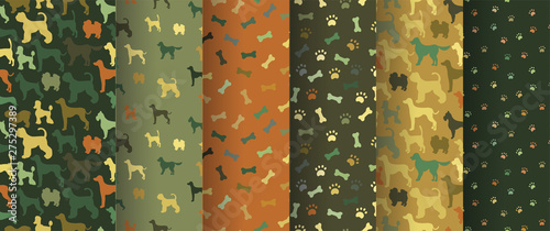 obraz lub plakat Set of seamless patterns with cartoon dogs