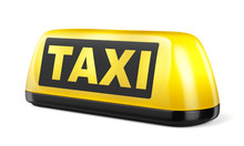 Yellow Taxi Sign Isolated On W...
