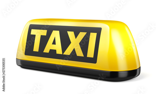 Fotografering Yellow taxi sign isolated on white background