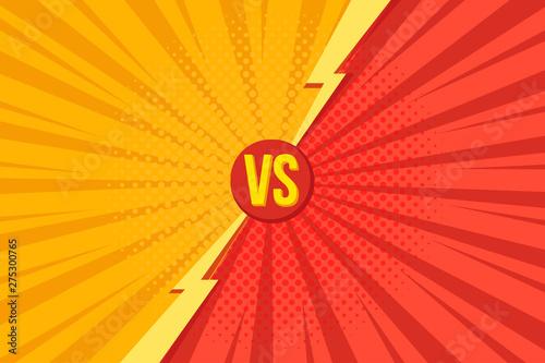 Obraz Versus VS letters fight backgrounds in pop art retro comics style with halftone. Vector illustration - fototapety do salonu